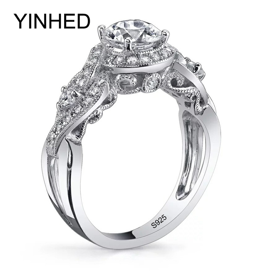 yinhed luxurious retro flower wedding rings for women solid 925 sterling silver jewelry 6mm zircon cz - Flower Wedding Rings