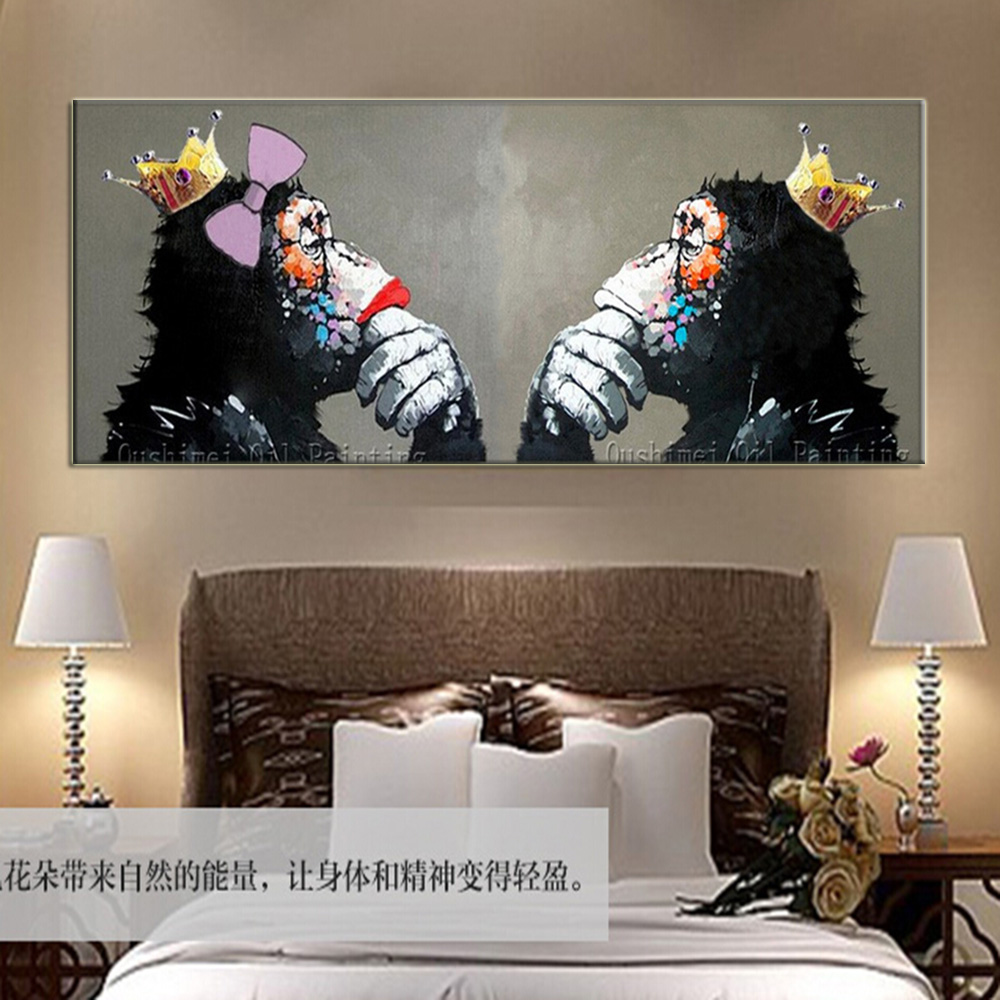 Kings Home Decor: Handmade Abstract King And Queen Orangutans Wall Painting