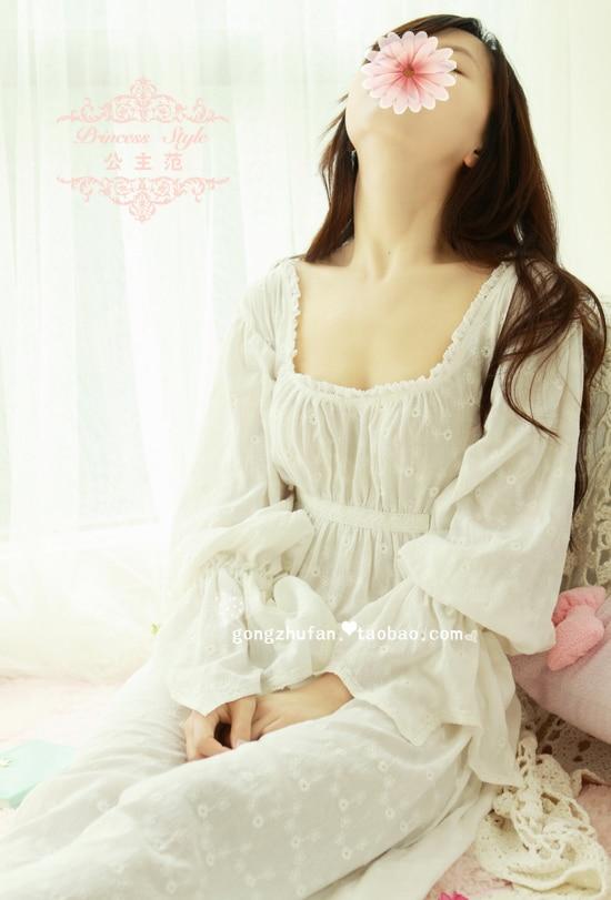 Free Shipping 100 Cotton Prinsty Nightdress Women s Nightgown Long White Pijamas Embroidery Sleepwear nightdress feminino