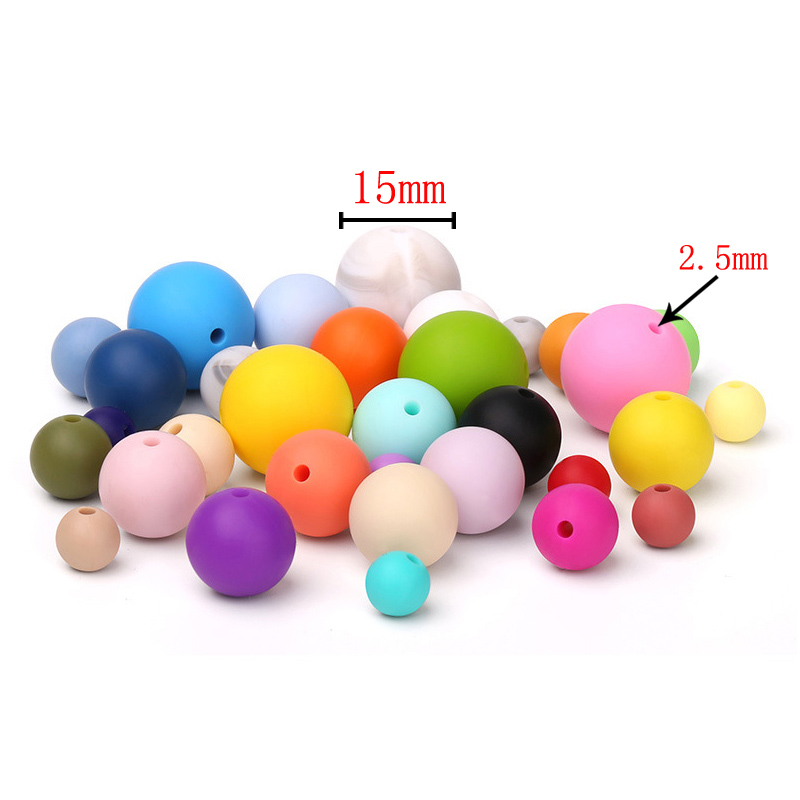 10pcs Silicone Teething Beads Round 15mm For Necklace Chews Pacifier Chain Clips Beads Soft Texture Silicone DIY Accessorie
