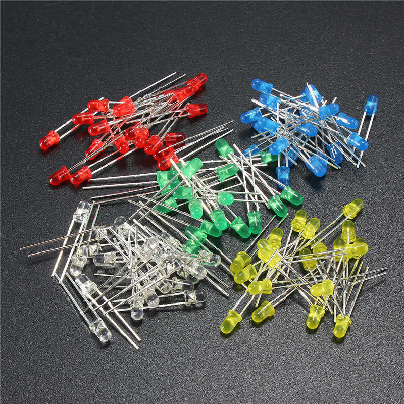 100pcs/lot 3mm LED Emitting Diodes Light Kit Round Top 5 Colors Diffused Green Red White Blue Yellow For DIY Lighting Assortment