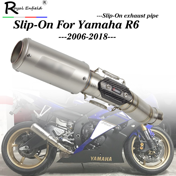 For R6 Motorcycle Exhaust System Slip on YZF R6 Exhaust Tip Baffle Pipe Middle Mid Connect Link Tube for Yamaha YZF R6 2006-2018 цены