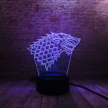Game of Thrones House Stark Model Luminous 3D Illusion LED Colorful NightLight Glow in the Dark Action & Toy Figures