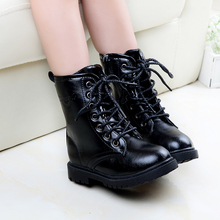 autumn winter black flat police cosplay boots for children kids swat tactical shoes soldier wear