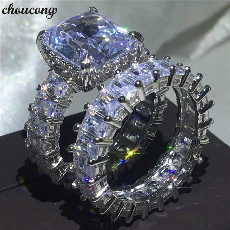 Choucong プリンセスカットリングセット 925 スターリングシルバー AAAAA cz 婚約のためのウェディングバンドリング女性男性パーティー指ジュエリー