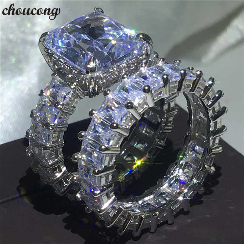 Choucong Conjuntos Anel 925 Sterling Silver AAAAA cz do corte Da Princesa Anéis de Noivado Wedding Band Para Mulheres Homens Dedo Partido Jóias