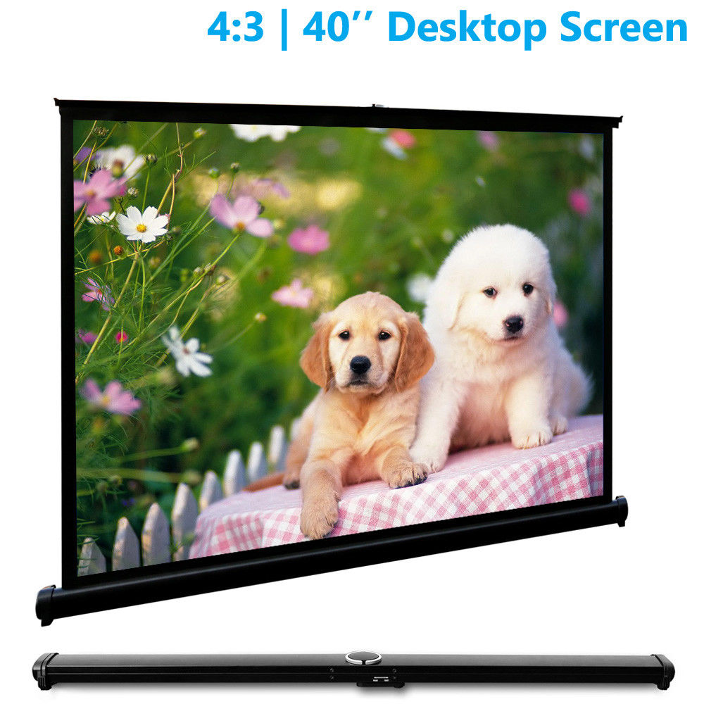 40 inch Projector Screen Portable Projection Screens Table Beamer Leinwand with Stand For Home Theater Business Meeting