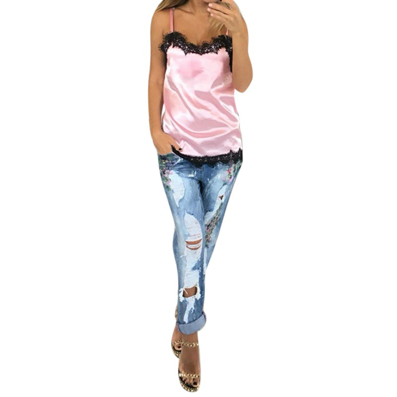 2017 Pink Sexy Women Camisoles  Summer Casual Lace Patchwork Vest Tops Sleeveless Tank Tops T-Shirt Hot Sale