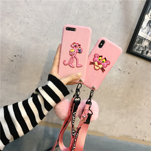 Kuutti Squishy Pink Panther Phone cases with plush Ball/Strap For iphone 6 6s Plus for iPhone X case for iphone 7 cover Capa
