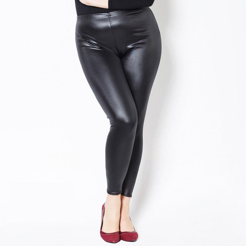Leggings   Women Fake Leather Plus Size 6xL Big Sizes Women High Waist Large   Legging   Femme Stretch Pants Black push up Leggins