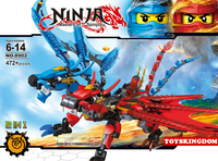 2017 Ninja Thunder Fire Double Head Dragon Knights Tyrannosaurus Mech 2in1 Building Block Jay Kai Figures