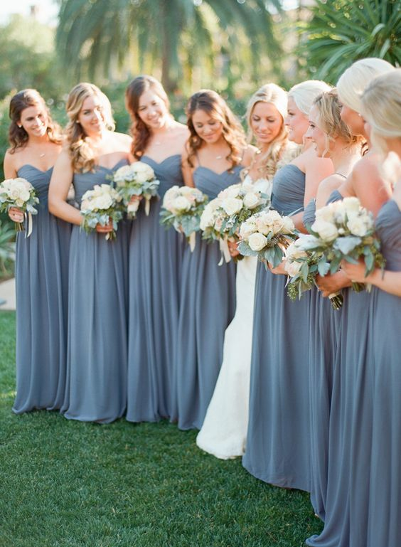Bluish Grey Bridesmaid Dresses