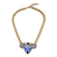 Noble Women Jewelry 2015 New Fashion Trending Diamante Big Crystal Blue Bib Statement Necklace Chokers