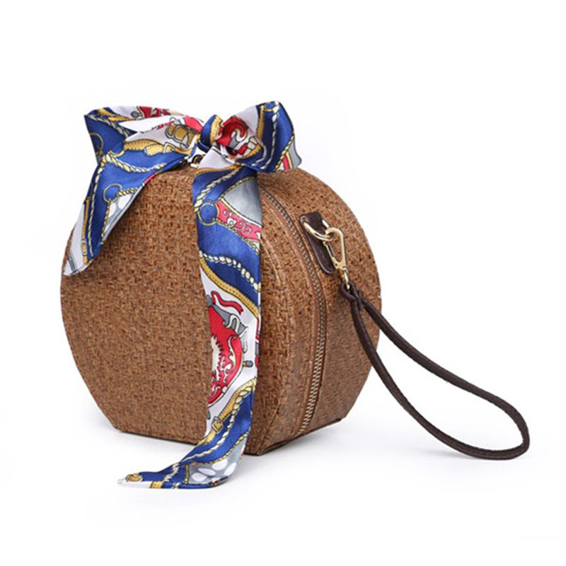 DCOS-Round Rattan Bag Woven Straw Purse Circle Handmade Wicker Basket Bag