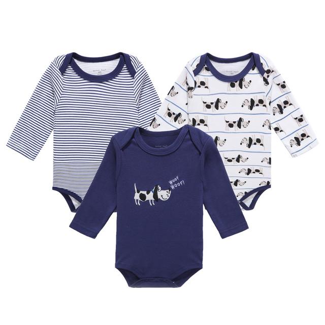 Mother nest moda 3 pçs/lote romper do bebê menina menino próximo bebê dog clothing impresso roupas de bebê macacão de bebê recém-nascido de algodão