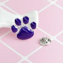 Cartoon Enamel Purple Cat Paw Pins