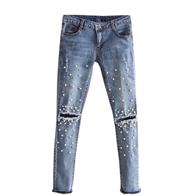 2017 new fashion women ladies Embroidered Flares holes Jeans sexy ripped skinny pencil denim long pants Trousers