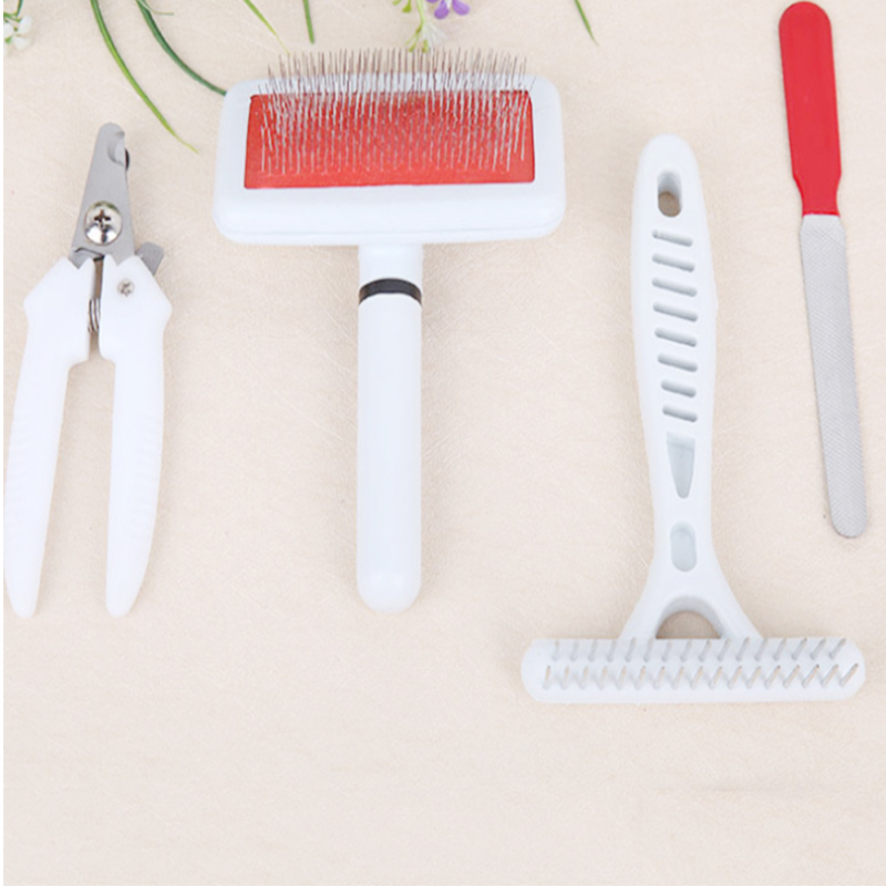 4pcs set pet dog cat Stainless Steel Dog Combs Nail File Nail Clipper Cleaning Massage Brush Dog Grooming Supplies Pet Products in Dog Combs from Home Garden