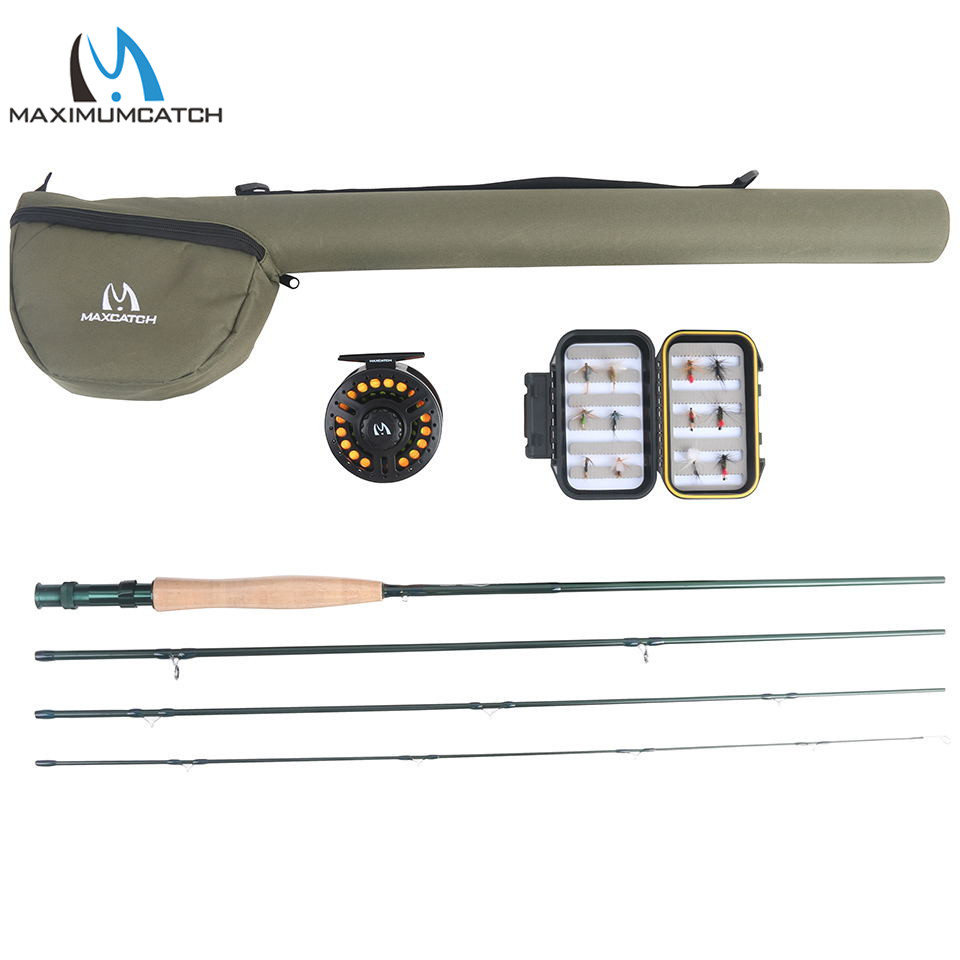 где купить Maximumcatch Extreme 9FT 5/6/8WT Medium-fast Carbon Fiber Fly Rod with Graphite Reel & Fly Line&Tackle Box Triangle Tube по лучшей цене
