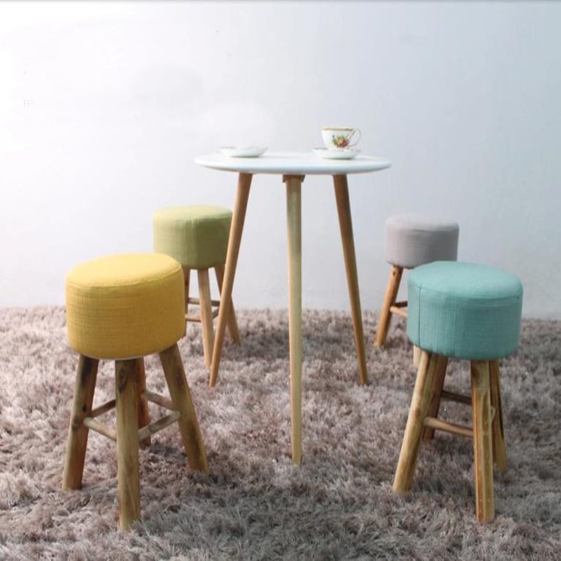 Wholesale!100% Wood bar stool,cotton+wooden furniture waiting stool ...