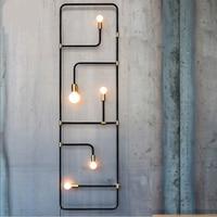 Nordic loft simples estilo industrial preto tubo de ferro lâmpada parede para barra sala jantar decorativa arandela lamparas pared