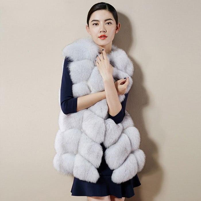 Sans Manches Manteau Pleine Renard Plein Chaud Plus Vêtement Fourrure Noël Vêtements Femmes Luxe Taille White Air La Densité Gilet Veste En pink De red paPqv
