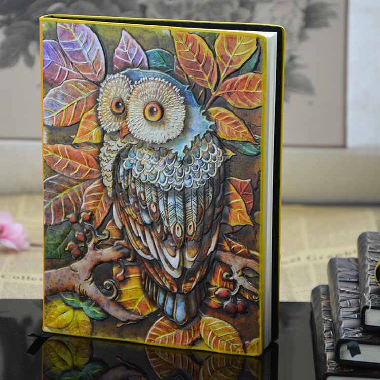 European Vintage Thick notebook Diary Book Handmade leather carving owl Stationery Office Material School Supplies разговорник на 14 ти европейских языках european phrase book