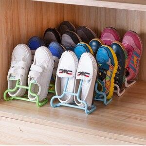 4pcs Multi-Function PP Shoe Rack 2 In 1 Children's Shoe Rack Balcony Shoes Storage Cabinet Clothesline Rack