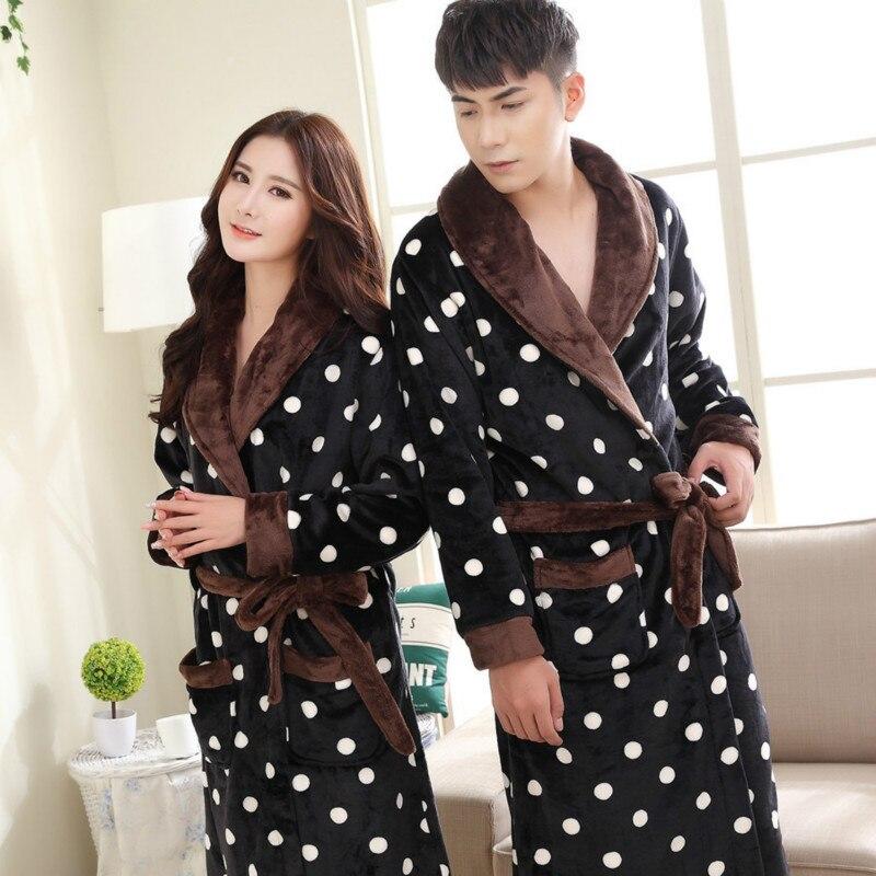 Flannel Couple Robe Thickened Coral Fleece Bathrobe Mens Long Sleeve Robe Men Siamese Pajamas Nightgown  Nighty Sleepcoat