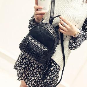 Image 2 - Mochila feminina pequena couro legítimo, bolsa escolar casual viagem preta
