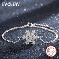 EVOJEW 100 925 Sterling Silver Chain Bracelet For Women Crystal Snowflake Charm Bracelet Luxury Jewelry Gift