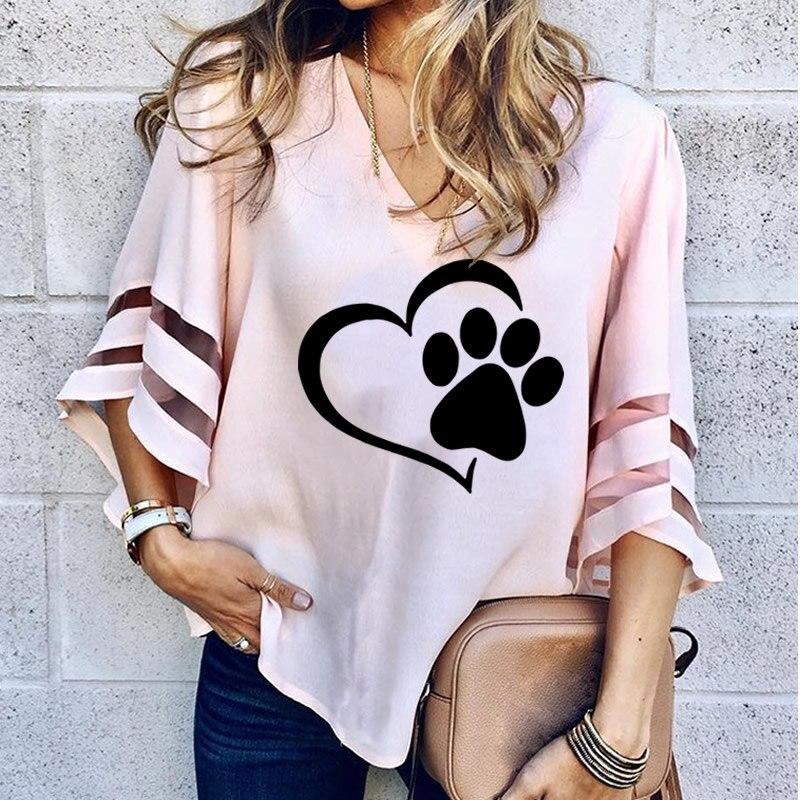 2018 neue Mode Hund Pfote Druck Frauen Sexy V-ausschnitt Spleißen Hohl Plus Größe T-Shirt Weibliche Tops Halben Hülse Lose Mesh shirts