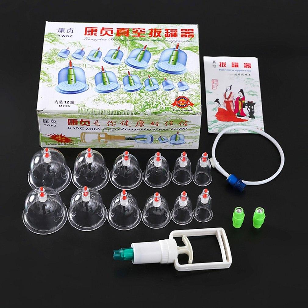 1 Unidades * piezas 12 piezas de masaje al vacío Set de ventosas magnéticas más gruesas para aspirar latas cupunción masaje Ventosa con tubo de regalo