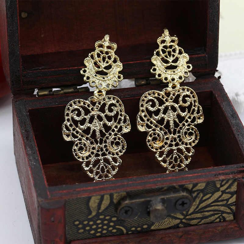 ยาว Vintage สีดำสีแดงเงิน Metallic Boho สไตล์ลูกไม้ตัวเลขโบฮีเมีย Hollow Drop ต่างหูผู้หญิงต่างหู Dangle