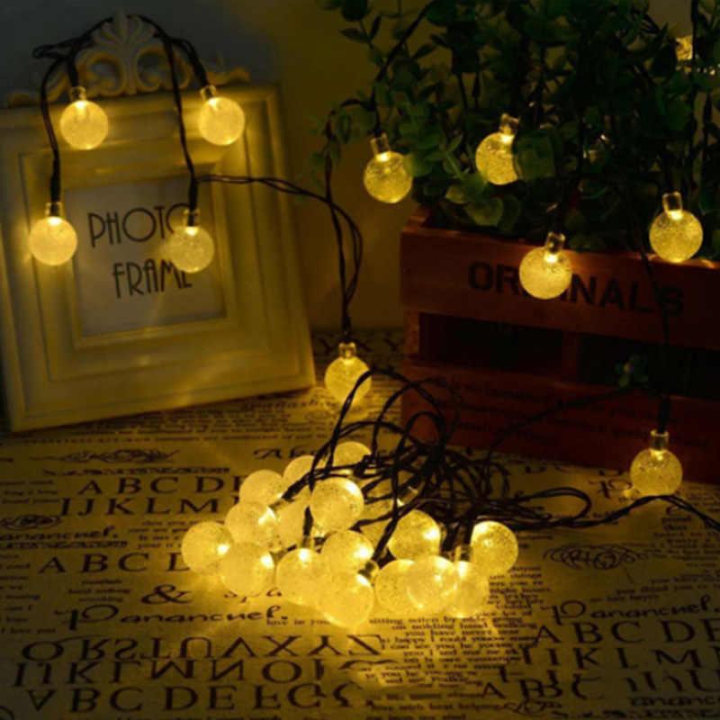 Новый 30 светодиодный S 7 м хрустальный шар Солнечная лампа Мощный светодиодный Сказочный светильник Солнечная гирлянды сад Рождественский Декор для наружного использования