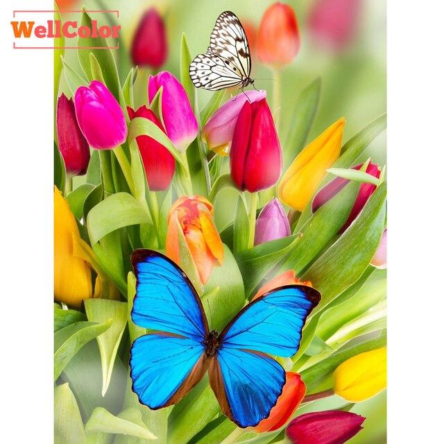 Wellcolor Pegatinas para uñas Diamantes con piedras falsas tulipán ...