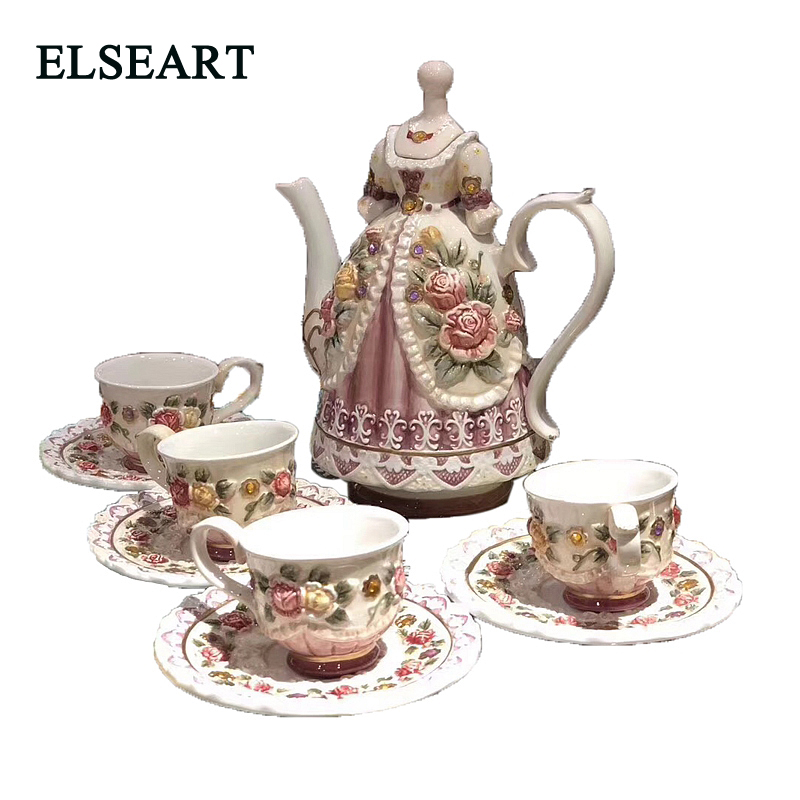 Ceramic Coffee Cup Saucer Set Coffee Pot afternoon tea flower teapot teacup for home decoration