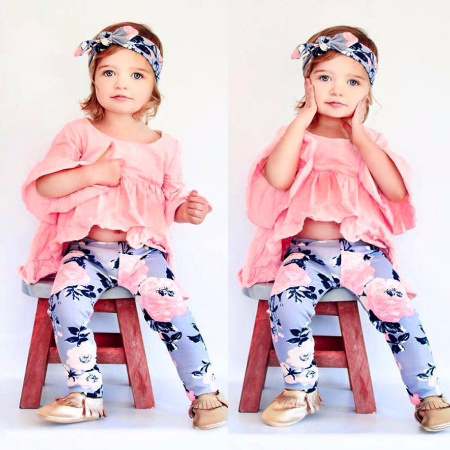 MUQGEW Fashion Infant Baby Girl Solid Fold T-shirt Tops+Floral Pants Outfit Clothes Set Imported-Baby-Clothes Macacao QZ06