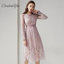 Spring/Summer Dress 2019 New Arrival Merry Cecilia Office/Lace/Knee-length Elegant Sexy/Long Sleeve Dresses Casual