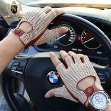Latest Man Locomotive Half Finger Sheepskin Gloves Knitted + Leather Driving Male Semi-Finger Fitness M61