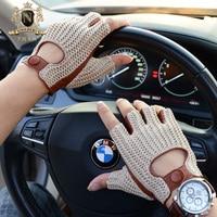Latest Man Locomotive Half Finger Sheepskin Gloves Knitted + Leather Driving Gloves Male Semi Finger Fitness Gloves M61