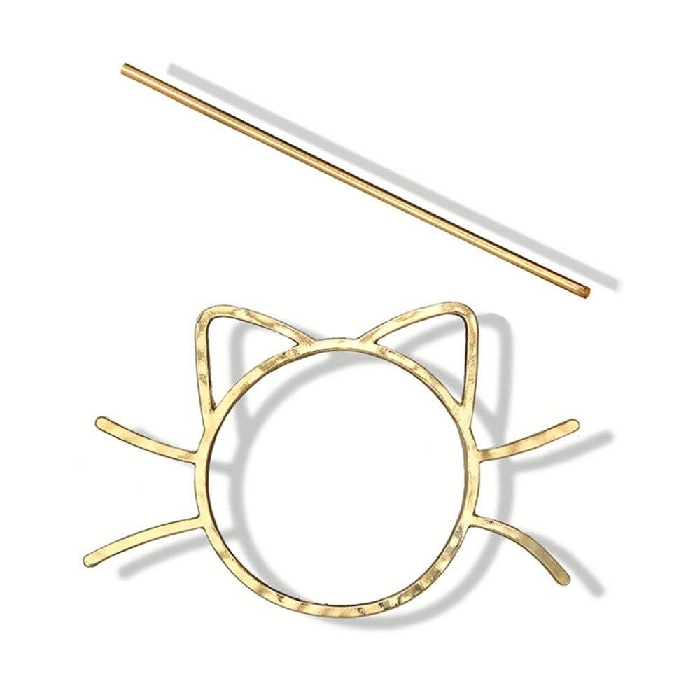 Ladies Geometric Meow Cat Pierced Hair Clip Cute Metallic Slide Comb Hairpin Shawl Pin Brooch Styling Ponytail Holder Bun Maker