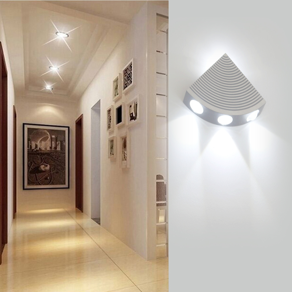 4W Fan-shaped LED Wall Lamp Wall Mounted Sconce AC85-265V Light For Living Room Stairs Corridor Indoor Home Bar Decoration JQ