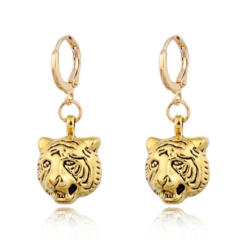 1 Paar Nette Kleine Tiger Kopf Runde Anhänger Hoop Ohrringe Für Frauen Männer Europäischen Gold Farbe Tiere König Ohrring Schmuck E849-2