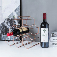 Scandinavian Rose Gold Wine Storage Rack Honeycomb Shaped Metal Grape Wine Display Holder Vogue Bar Chic Champagne Rack