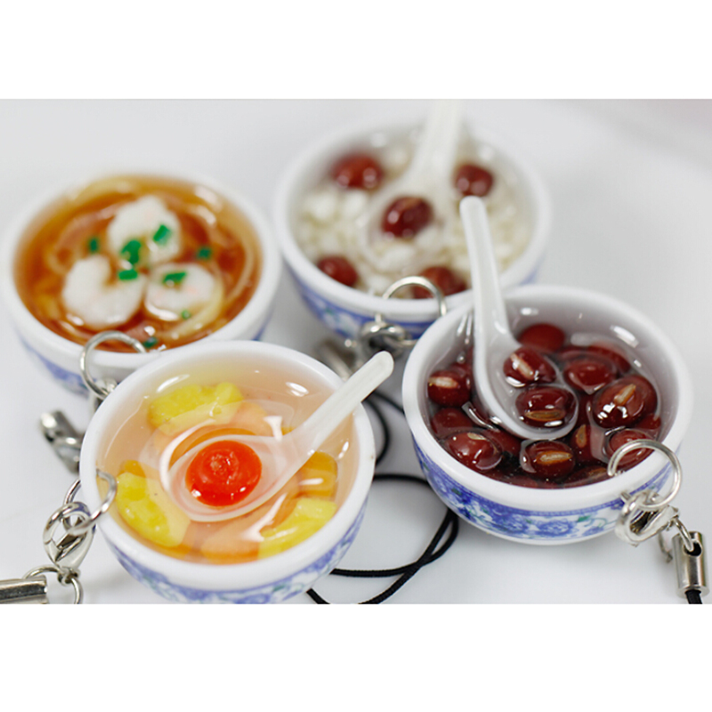 1 StÜcke Simulation Chinesisches Essen Schlüsselbund Charme Porzellan Futternapf Mini Handy Gurt Anhänger Für Tasche Zubehör