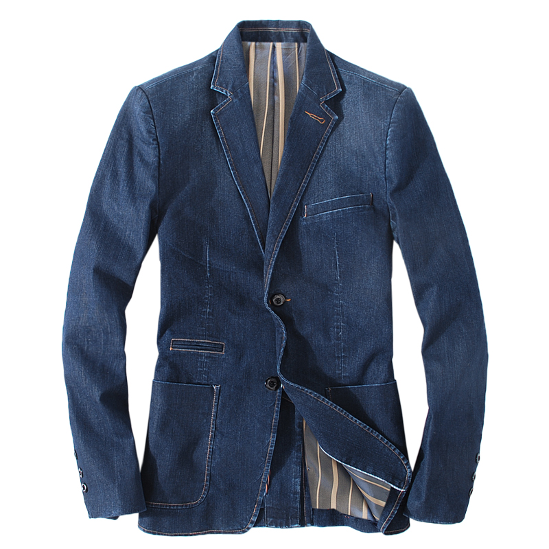 new 2016 spring denim blazer men blouson homme fashion style roupa masculina long sleeve male. Black Bedroom Furniture Sets. Home Design Ideas