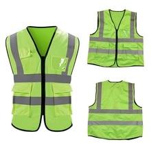 High Visibility Reflective Safety Vest Reflective Vest Multi Pockets Workwear Safety Waistcoat Work Reflective Safety Top