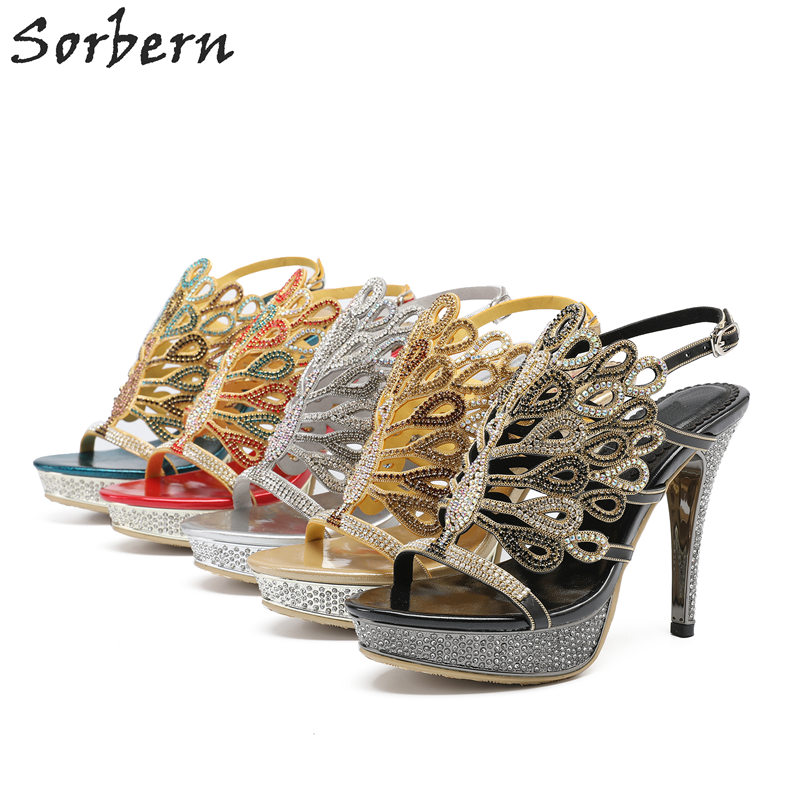 Sorbern Crytal Women Sandals Shoes Rhinestone 2018 Plus Size Ladies Party Shoes Real Image Summer Ladies Shoes Platform Sandals