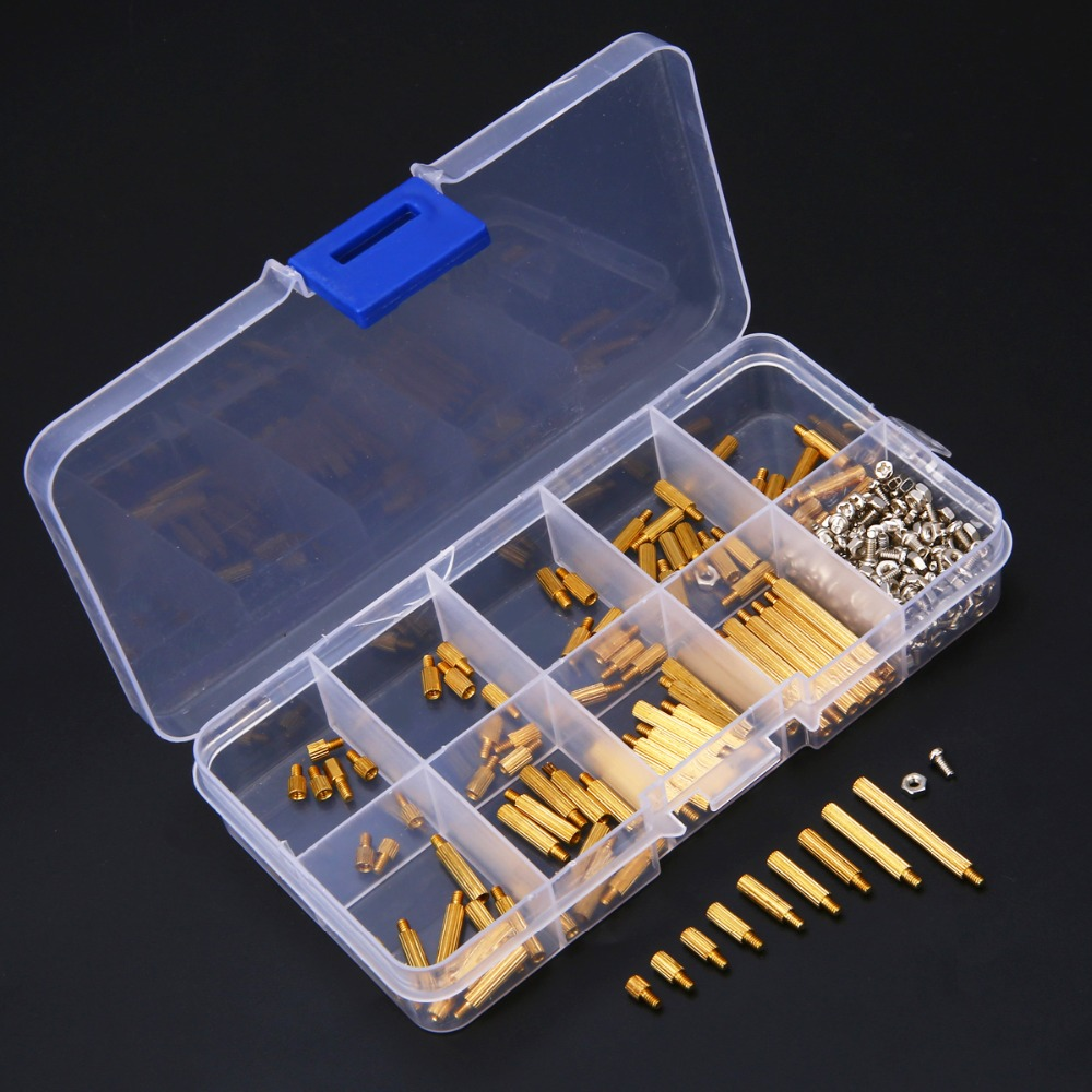 270pcs M2 Standoff Screws Male to Female Brass Standoff Nuts Assortment Kit with Plastic Box For DIY Tool